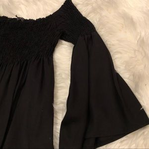 Zara Black Off-the-Shoulder Bell-Sleeve Dress